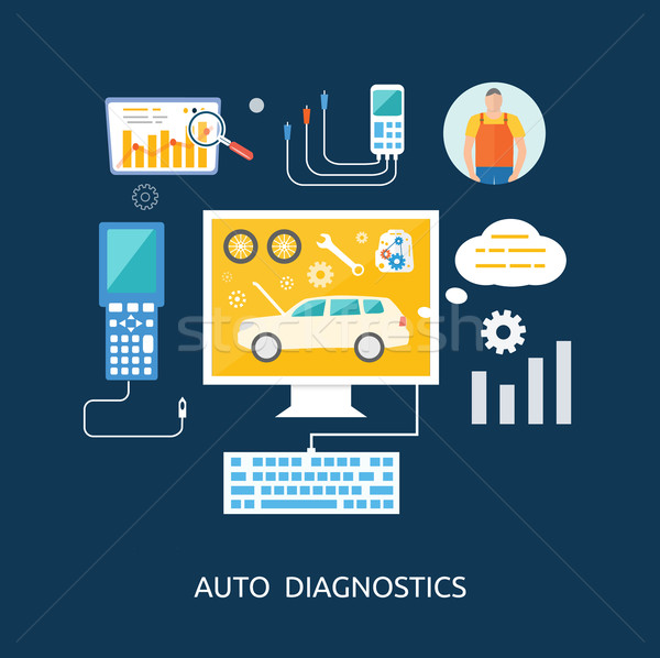 Auto mechanic service flat icons of maintenance car repair Stock photo © robuart