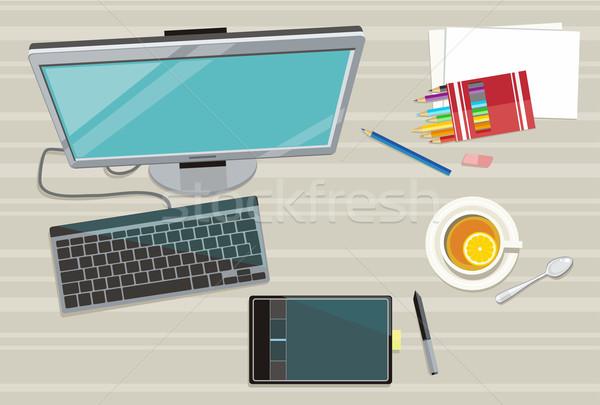 Stockfoto: Web · design · iconen · ontwerp · architectuur · tabel