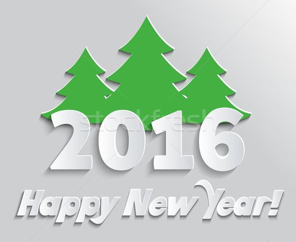 Boldog új évet 2016 szalag fa üdvözlet ünneplés Stock fotó © robuart