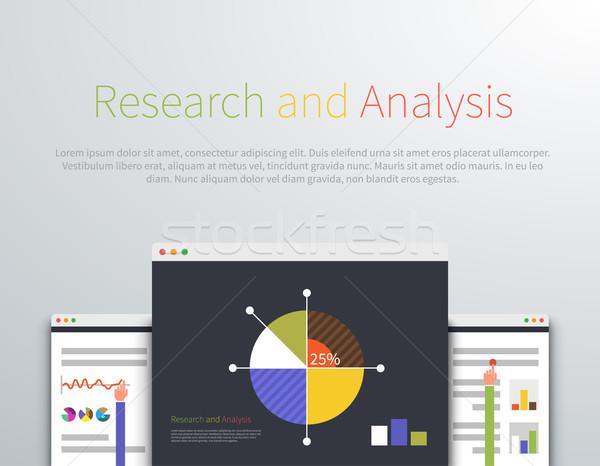 Analytics onderzoek ontwerp stijl analyse icon Stockfoto © robuart
