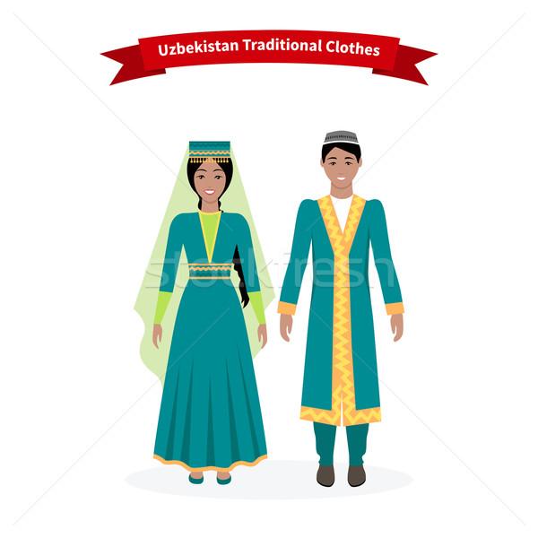 Üzbegisztán hagyományos ruházat emberek ruházat kalap Stock fotó © robuart