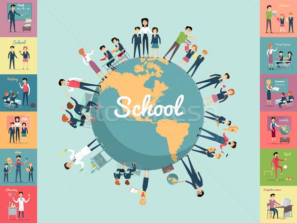 Schule Bildung Welt Schüler Lehrer Hand in Hand Stock foto © robuart