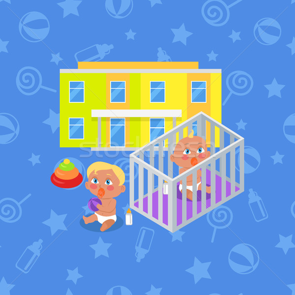 Kindergarten Building Isolated. Boy and Girl Stock photo © robuart