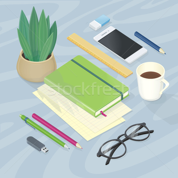 Top View of Workplace with Office Supplies Stock photo © robuart