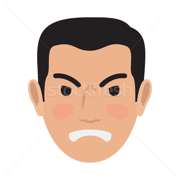 Angry Man Avatar User Pic Front Head View Vector Stock photo © robuart