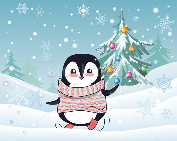 Christmas Penguin Flat Design Vector Illustration  Stock photo © robuart