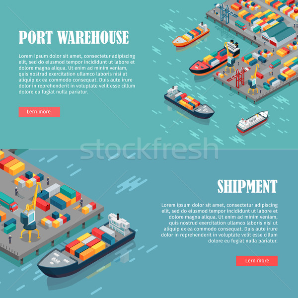Port Warehouse and Shipment Banner. Vector Stock photo © robuart