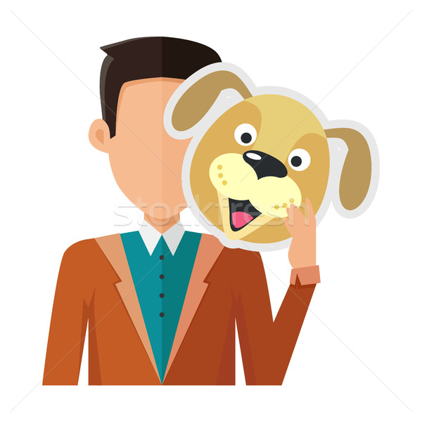Man with Dog Mask Flat Design Vector Illustration Stock photo © robuart