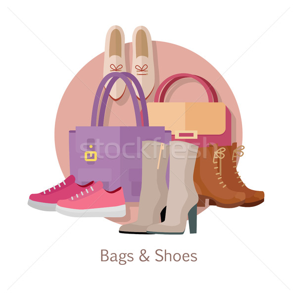 Bags Shoes Flat Design Vector Concept  Stock photo © robuart