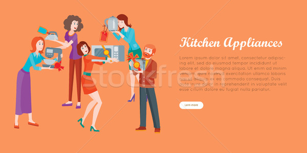 Kitchen Appliances. Set of People on Store Sale. Stock photo © robuart