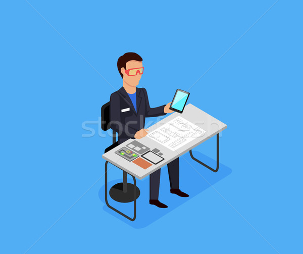 Engineer at Work Concept Vector Illustration. Stock photo © robuart