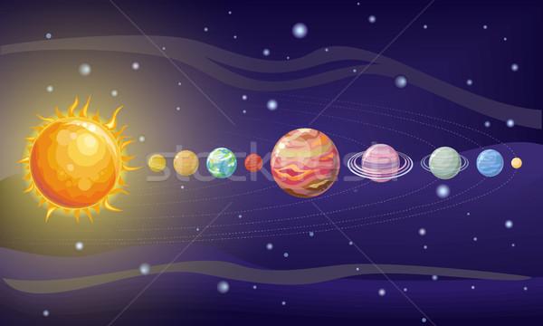 Sistema solar projeto espaço planetas estrelas sol Foto stock © robuart