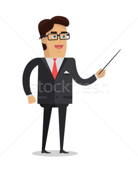 Man with Pointer Flat Design Vector Illustration Stock photo © robuart