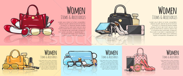 Women Items and Accessories. Set of Pictures. Stock photo © robuart
