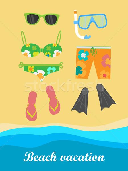 пляж отпуск баннер вещи необходимо трубка Сток-фото © robuart