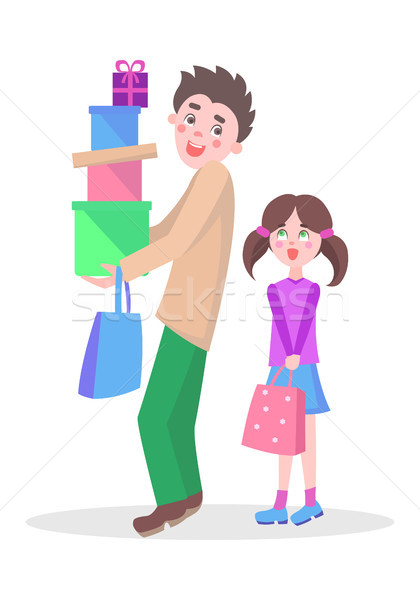 Stock photo: Family Shopping Cartoon Flat Vector Concept