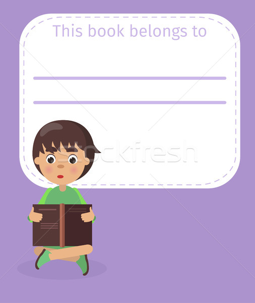 Place for Book Owner Name and Boy Illustration Stock photo © robuart