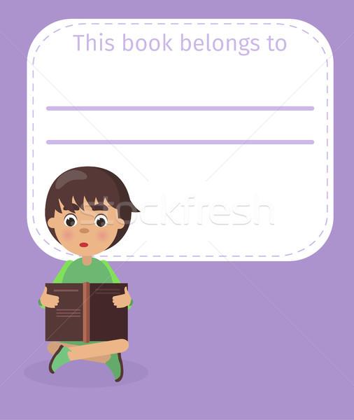Hely könyv tulajdonos név fiú illusztráció Stock fotó © robuart