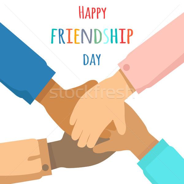 Heureux amitié jour vecteur multinational groupe de gens Photo stock © robuart