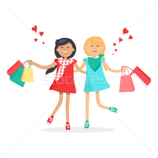 Feliz meninas amigos para sempre colorido Foto stock © robuart