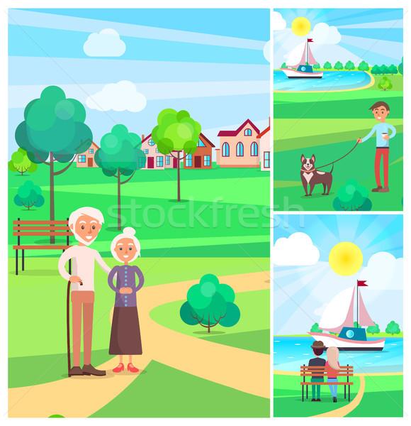 Feliz casal de idosos parque cartaz pessoas fora Foto stock © robuart