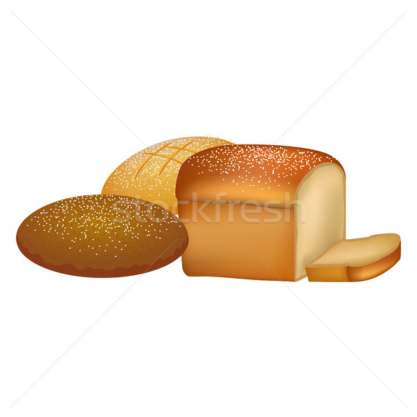 Delicious Fresh Bread Loafs with Sprinkles Set Stock photo © robuart