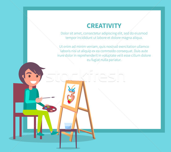 Creativity Poster with Girl Drawing Vase Vector Stock photo © robuart