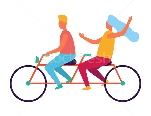 çift binicilik tandem ikiz bisiklet yalıtılmış Stok fotoğraf © robuart
