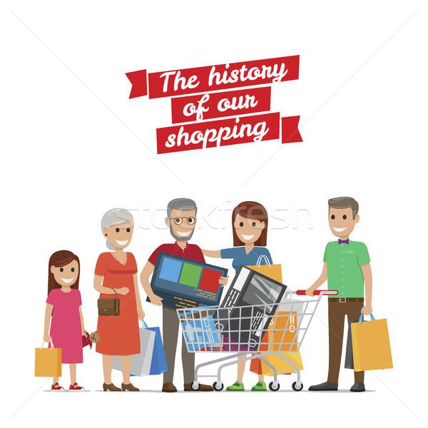 Duży rodziny zakupy historii babcia dziadek Zdjęcia stock © robuart