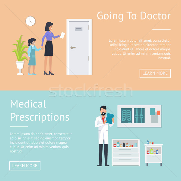 Going to Doctor Posters Set Vector Illustration Stock photo © robuart