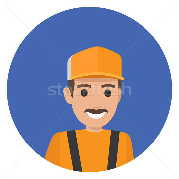 Whiskered Erector in Black Overalls Yellow Helmet Stock photo © robuart