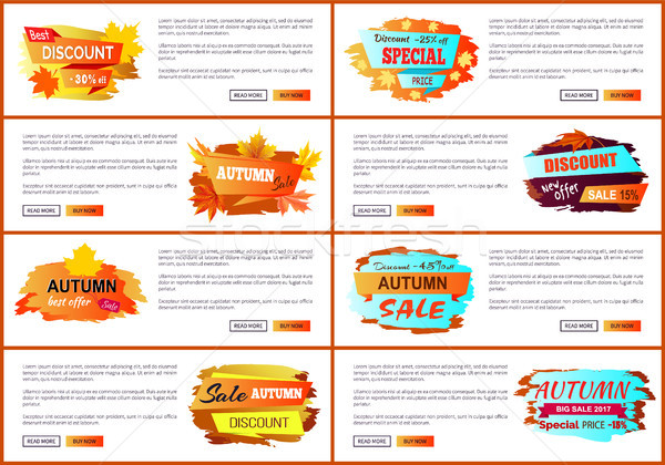 Info Labels with Signs Price Reduction Autumn Fall Stock photo © robuart