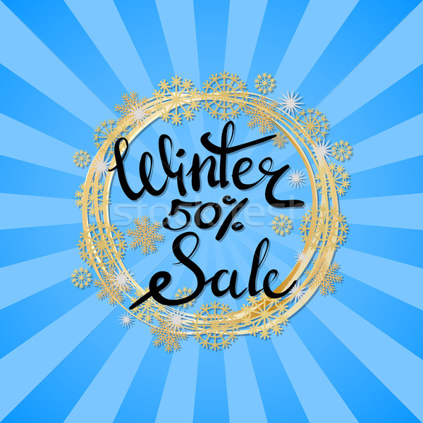 Winter Sale Poster in Frame Made of Snowflakes Stock photo © robuart