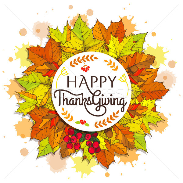 Stock photo: Happy Thanksgiving Placard on Vector Illustration