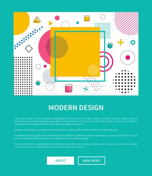 Moderne ontwerp landing pagina meetkundig verschillend Stockfoto © robuart