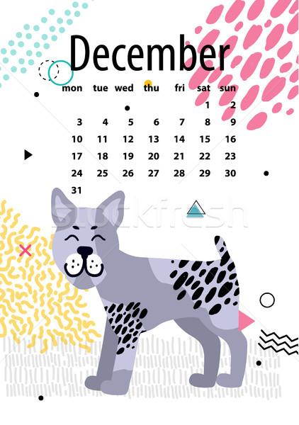 December Calendar for 2018 Year with Bullterrier Stock photo © robuart