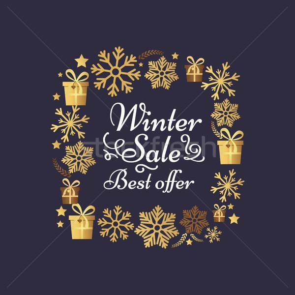 Tél vásár legjobb ajánlat poszter hópelyhek Stock fotó © robuart