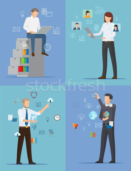 Four Banners with Busy People Vector Illustration Stock photo © robuart