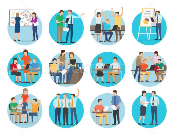 Start omhoog collectie mensen werk Stockfoto © robuart