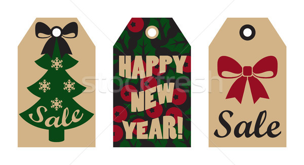 Happy New Year Sale Tags Mistletoe and Tree Bow Stock photo © robuart