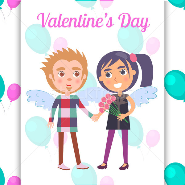 Valentines Day Poster First Date Teenage Couple Stock photo © robuart