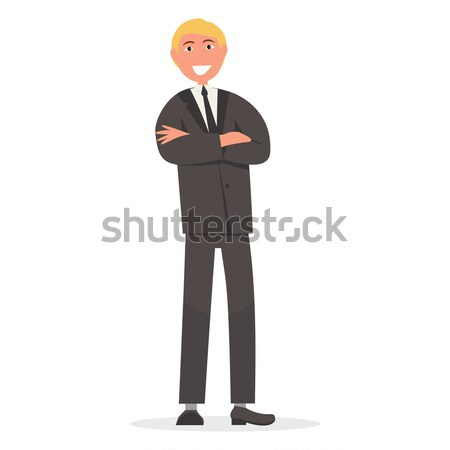 Man in Suit with Crossed Arms on Chest Vector Stock photo © robuart