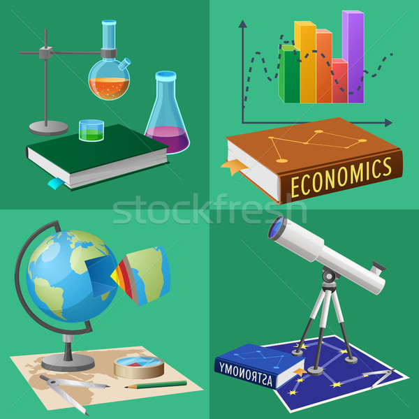 Equipment for Subjects Studies Illustrations Set Stock photo © robuart