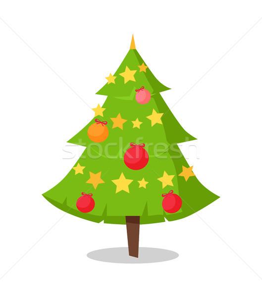 Green Bushy Christmas Tree Icon Decorated by Star Stock photo © robuart