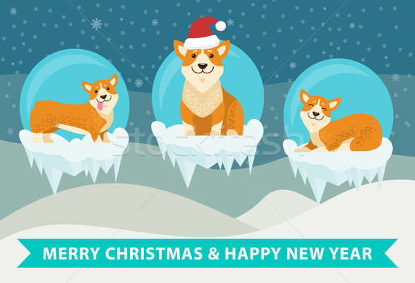 Merry Christmas and Happy New Year Poster Stock photo © robuart