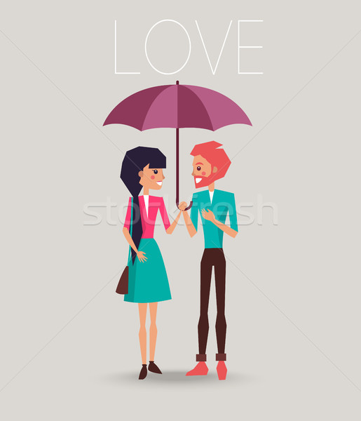Young Couple in Love Standing under One Umbrella Stock photo © robuart
