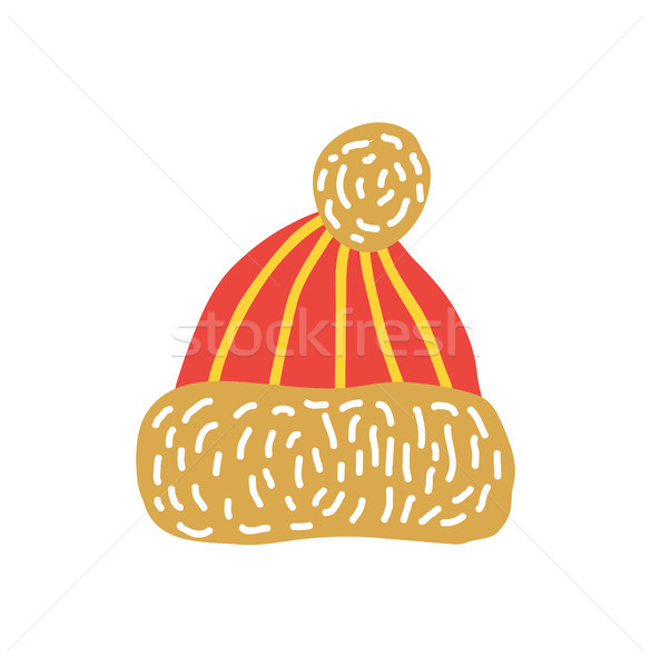 Red Knitted Hat with Bubo Vector Illustration Stock photo © robuart