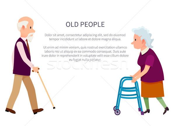 Grandparents Banner Grandpa and Grandma Isolated Stock photo © robuart
