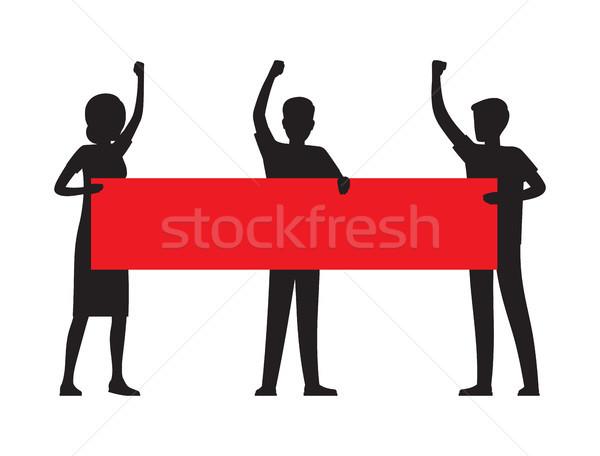 Kettő férfi tart piros nagy felirat Stock fotó © robuart