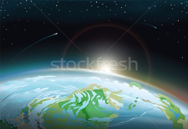 Ziemi jasne słońce horyzoncie spektakularny powierzchnia Zdjęcia stock © robuart